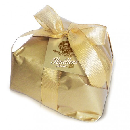 Classic panettone - Gold - Hand-wrapped - gold paper - 1000g